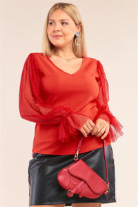 Royalty Red Mesh Blouse
