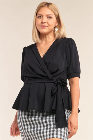 Black Pleated Self-Tie Wrap Blouse