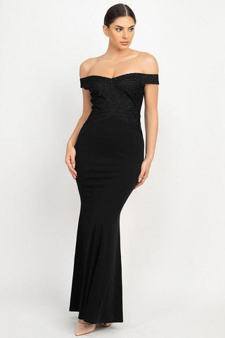 Sophisticated Off the Shoulder Maxi Dress