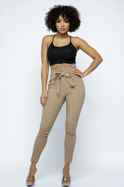 Fitted High Waist Self Tie Pants