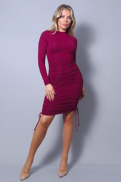 Burgundy Long Sleeve Ruched Dress