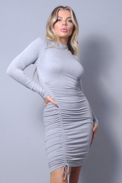 Grey Long Sleeve Ruched Dress