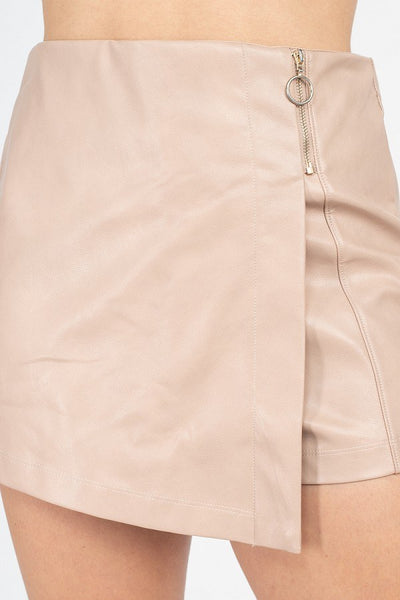 Double Take Rose Sheeny Mini Skirt