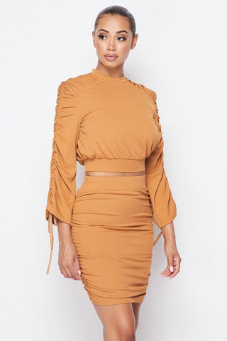Camel Ruched Two Piece Skirt Set