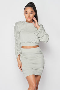 Grey Ruched Two Piece Skirt Set