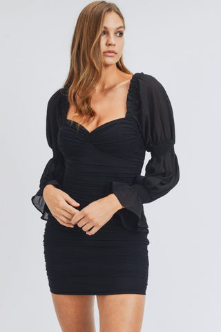 Queen of Hearts Black Ruched Dress
