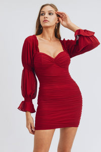 Queen of Hearts Maroon Ruched Dress