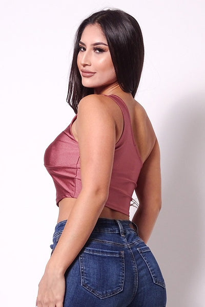 Luscious One Shoulder Mulberry Crop Top