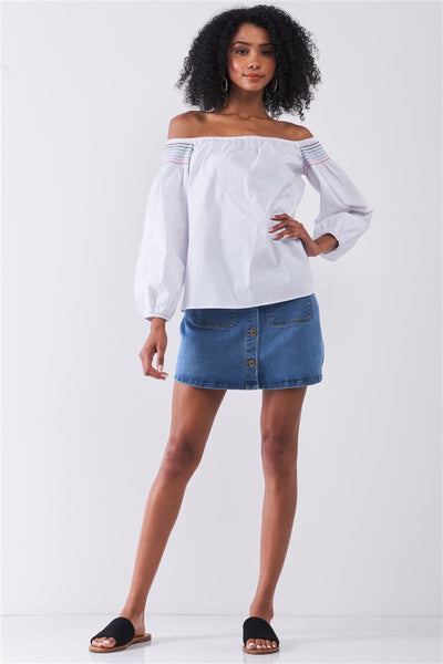 White Multi Shoulder Stitches Off-the-shoulder Long Balloon Sleeve Top