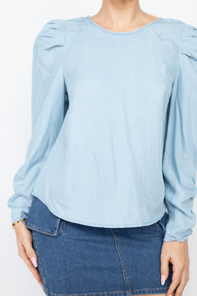 Shirring Puff Sleeves Denim Top