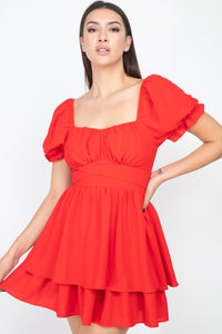 Red Puff Sleeves Frill Dress