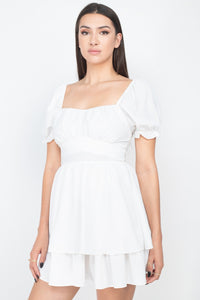 White Puff Sleeves Frill Dress