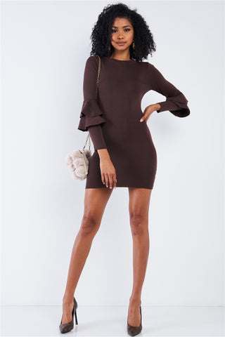Slim Fit Frill Sleeves Above Knee Dress
