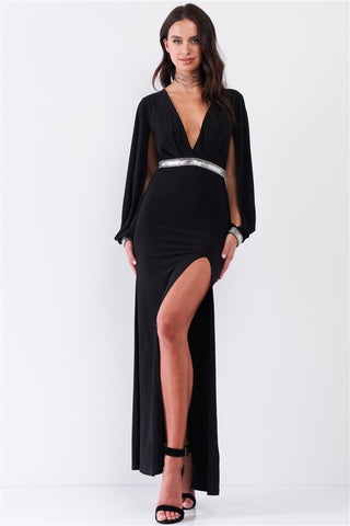 Deep Plunge Slit Sleeve Maxi Dress