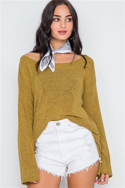 Golden Scoop Neck Side Slit Sweater