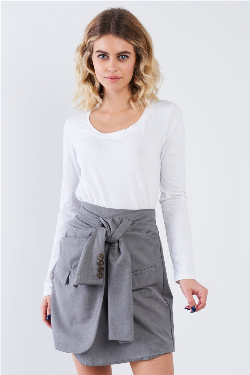 Grey Front Wrap Tie High Waist Mini Skirt