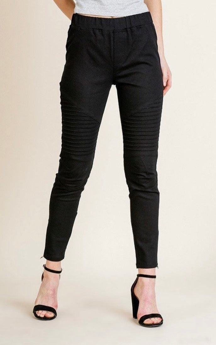 Black Form Fitting High Waist Moto Pants