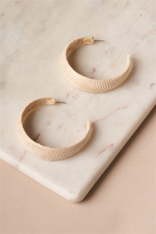 Ivory Chunky Burlap Hoop Earrings