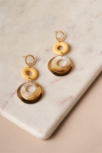 Yellow Ivory Tier Earrings