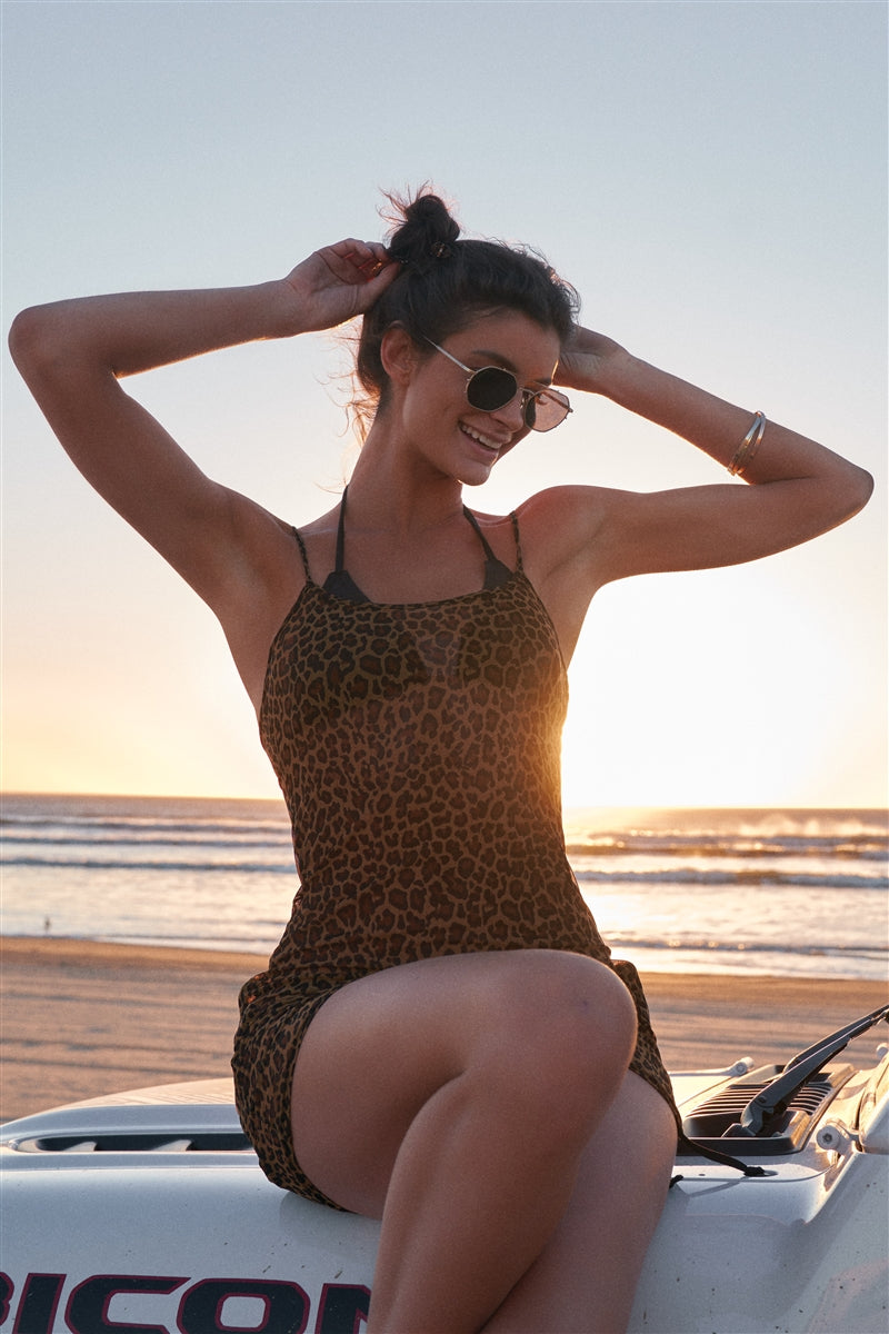 Sassy Leopard Sheer Dress