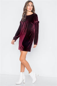 Long Sleeve Velvet Pearl Dress