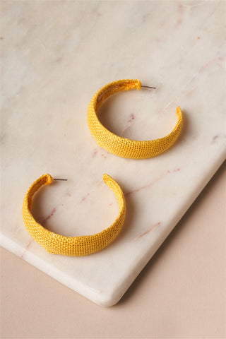 Yellow Chunky Burlap Hoop Earrings