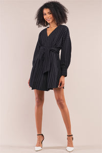 Secured Black Wrap Above Knee Dress