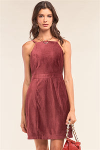 Plum Red Corduroy Halter Neck Dress