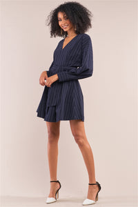 Secured Navy Wrap Above Knee Dress