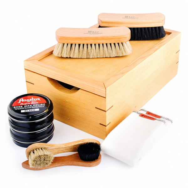 Cedar and Fir Wooden Shoe Shine Kits and Canvas bags