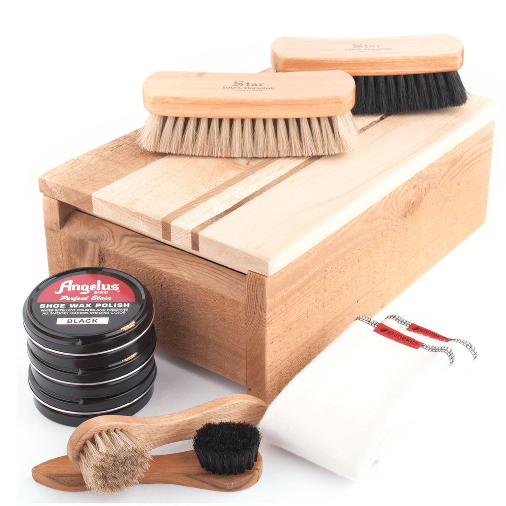 Pinstriped Cedar Fence Board Shoe Shine Kit