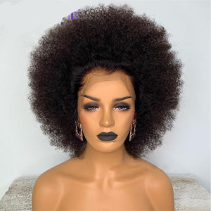 Short Mongolian Afro Kinky Curly Wig Pre Plucked 13X6 Lace Frontal Human Hair Wigs Black Remy Lace Wig 150% Density