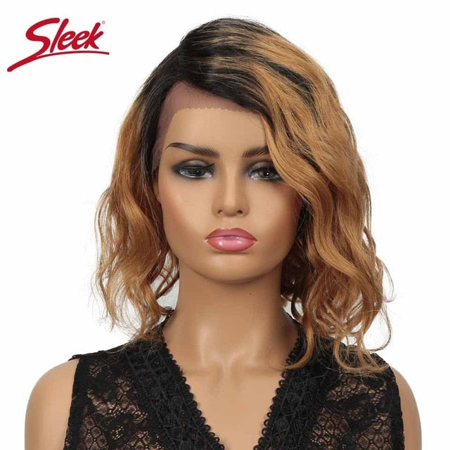 Sleek Lace Human Hair Wigs 100% Remy Brazilian Hair Wigs Short Human Hair Wigs L Part Lace Wigs Water Wave TT1B/27 Lace Wigs