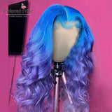 Preferred Ombre Human Hair Wig Remy Brazilian Blue Purple Wig Glueless Preplucked Red Lace Front Human Hair Wigs For Black Women