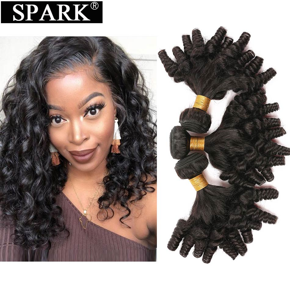 Spark Brazilian Funmi Bouncy Curly Human Hair Bundles 1/3/4 pcs Remy Human Hair Extensions Brown Curly Human Hair Weave Bundles