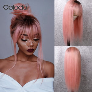 "COLODO 24"" Glueless Blonde Lace Front Wig 13x4 Remy Brazilian Wigs With Bangs 150% Density Ombre Human Hair Wigs For Black Women"