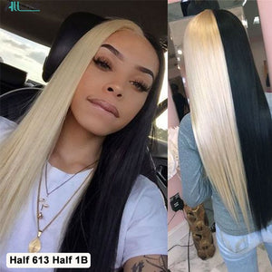 Allove Pink Human Hair Wig Colored Straight Lace Front Human Hair Wigs Red Blue 99J Ombre Human Hair Wigs Brazilian Green Wig