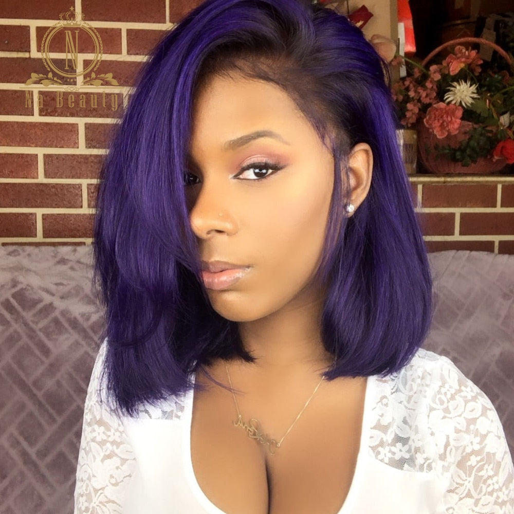 180 Density Purple Color HD Transparent Lace Wig Pre Plucked Ombre Straight Short Bob 13x6 Lace Front Human Hair Wigs Na beauty