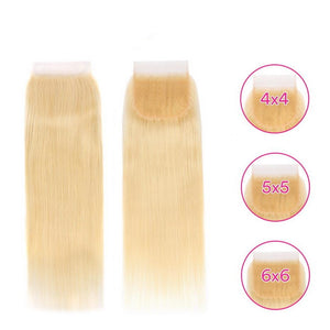 613 Blonde 5x5 4x4 6x6 Straight Lace Closure 12-22 Inch Remy Human Hair 4x4 1b/613 Ombre Lace Closure Brazilian