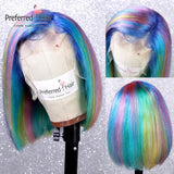 Preferred Brazilian Remy Rainbow Wig Green Purple Blue Highlight Wig Short Bob Wig Ombre Lace Front Human Hair Wigs For Women