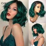 COLODO Dark Green Ombre Short Human Hair Wigs 13x6 Brazilian Remy Light Purple Grey Bob Lace Front Wigs For Women Natural Hair