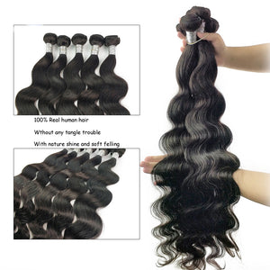 Body Wave Bundles Brazilian Hair Weave 100% Human Hair Bundles 1/3/4 Pieces 28-30 Inches Remy Hair Extensions