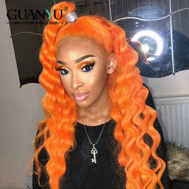 13x4 Brazilian Remy Curly Human Hair Wig Preplucked 613 Blonde Pink Red Blue Green Orange Ombre Colored Lace Front Wig Deep Wave