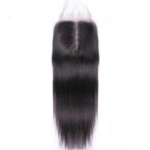 Malaysian Straight Hair Closure Middle Part Lace Closure Hand Tied Remy Human Hair Extension Can Be Dyed