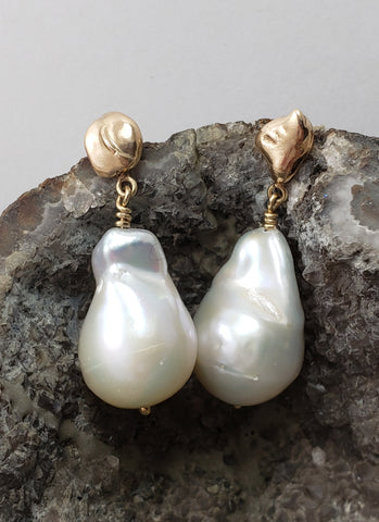 Baroque Pearl and Gold Nugget Earrings