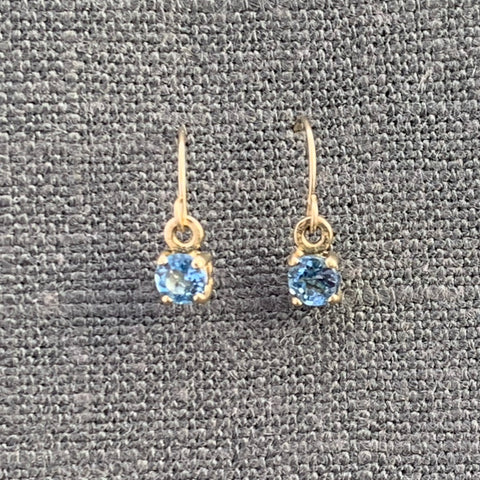 Aquamarine 4mm 14kt yellow gold dangle earrings