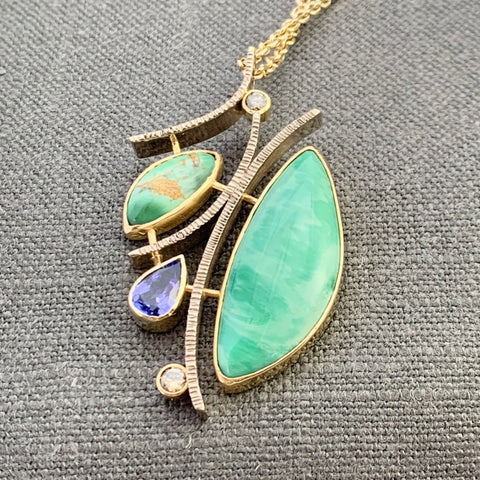 Variscite, tanzanite and diamond pendant in 14/18kt white and yellow gold