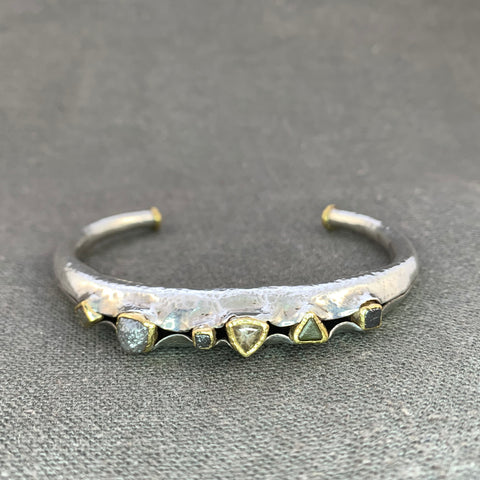 Raw diamond cuff in sterling silver and 22 KT yellow gold