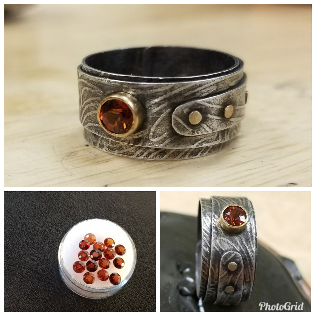 Wrap Riveted Ring with Gem
