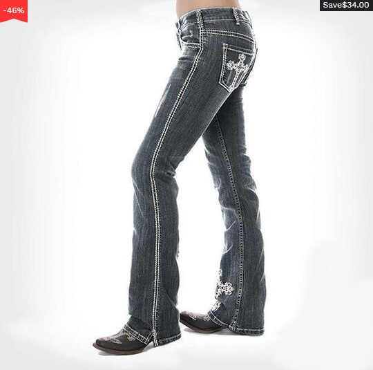 Silver Cross Washed Stretch Bootcut Jeans